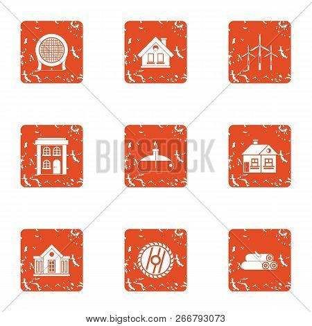 Compensate The Natural Resource Icons Set. Grunge Set Of 9 Compensate The Natural Resource Icons For