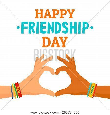 Friendship Day Concept Background. Flat Illustration Of Friendship Day Concept Background For Web De