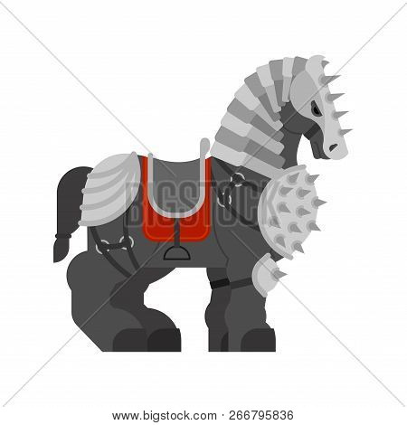 Horse In Armor Isolated. Warrior Clydesdale Strong Heavy Horse. Knight Steed. Cartoon Animal Vector