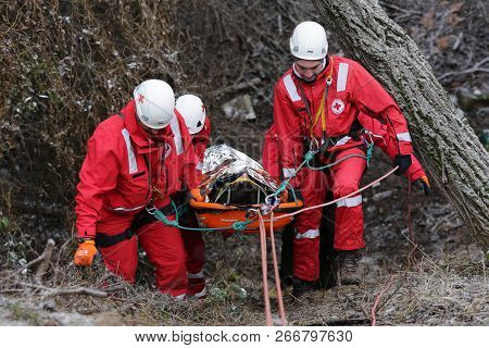 Sofia, Bulgaria - 5 December 2017: Paramedics From Mountain Rescue Service Provide First Aid During