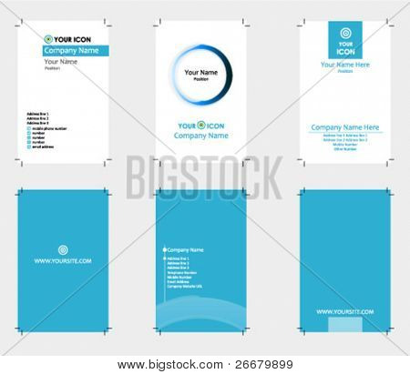 3 blue theme business cards with bleed (Ready to print)
