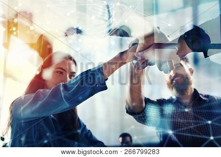 Handshaking Business Person In Office. Concept Of Teamwork And Partnership. Double Exposure With Lig