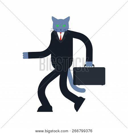Cat Businessman. Business Man Pet. Vector Illustration