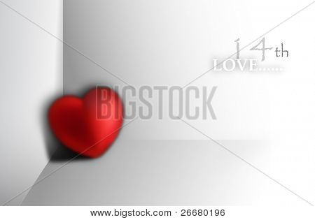 Concept -- 3d heart at a corner