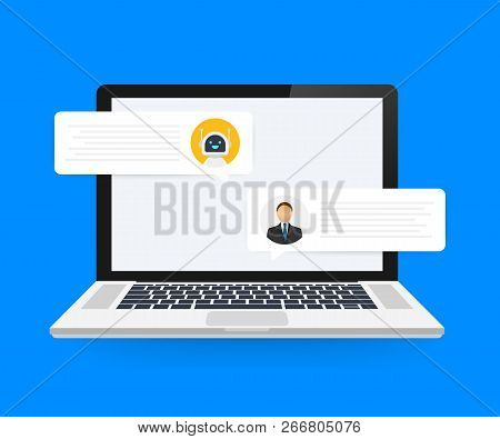 Vector Flat Modern Style Cartoon Character Illustration Icon Design. Chat Bot Robot Concept On Lapto