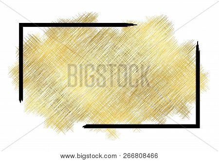gold metall texture black frame golden color paint stroke isolated white background glitter stain design bright border frame happy new year banner