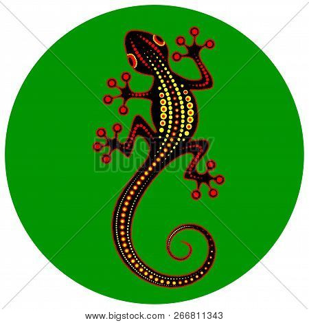 Image Of An Abstract Lizard On A Green Background - Vector Illustration