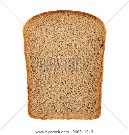 Hunk Of Brownk Rye Bread Isolated On White Background