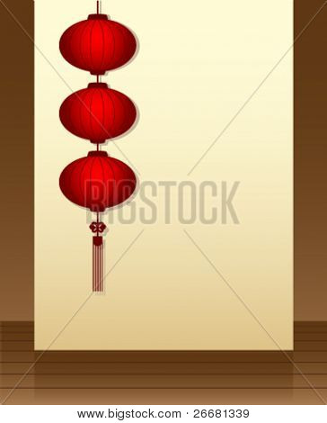 Traditional Chinese lanterns in the vestibule for chinese new year