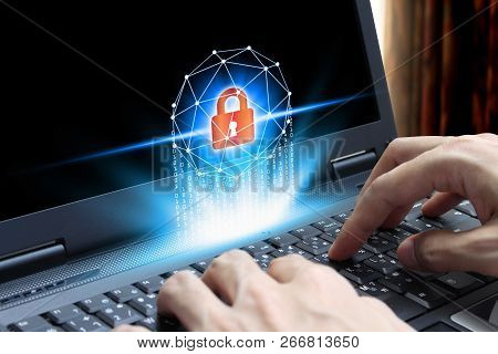 Businessman Hand Use Laptop Computer With Padlock Icon Technology, Cyber Security Data Protection Bu