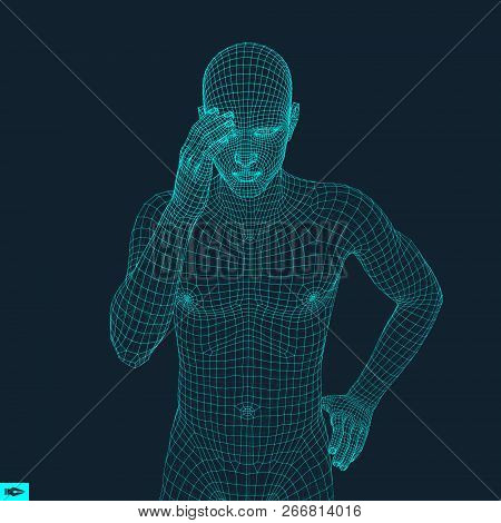 Man In A Thinker Pose. 3d Model Of Man. Geometric Design. Business, Science, Psychology Or Philosoph