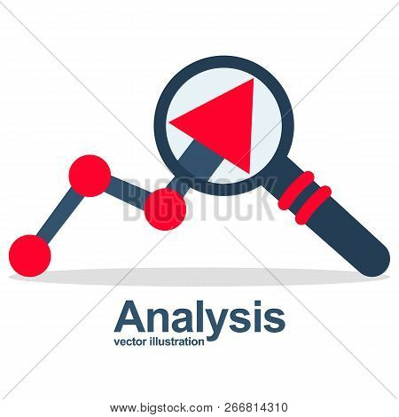 Graph Magnifying Glass. Analysis Concept. Analyze Graph. Report Growth. Rising Bar Chart Statistics.