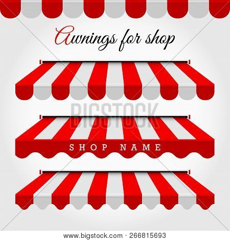 Commercial Vector Awning Series. Shop, Cafe Or Restaurant Symbol. Red And White Striped Awnings. Win
