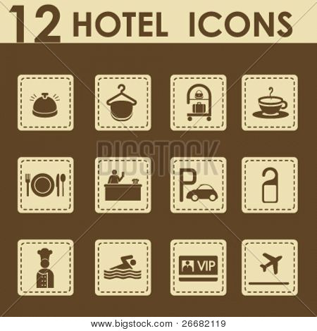 Hotel icons set in retro style - Travel Icons