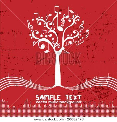 Vintage music tree - Retro design