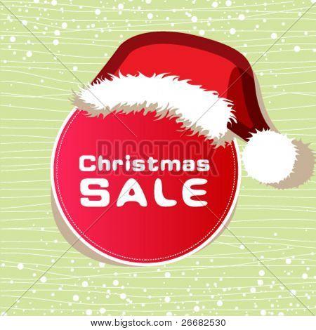 Sale sticker wears a Christmas hat