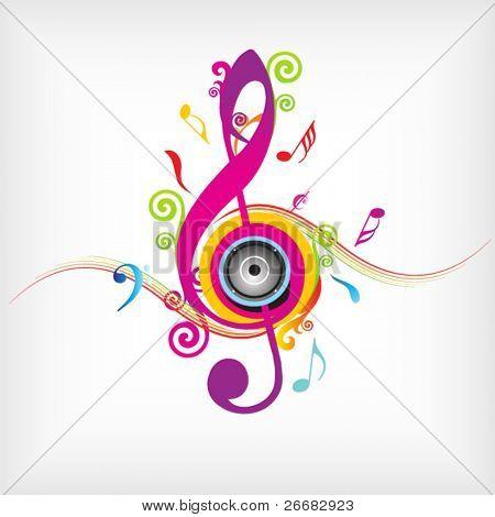 Sfondo colorato musica con fly clefs