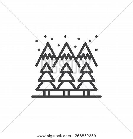 Winter Mountain Forest Outline Icon. Linear Style Sign For Mobile Concept And Web Design. Snow Mount