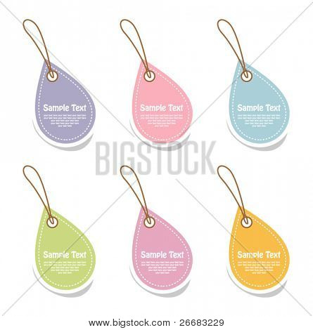 Vector set of hanging tags in bright color