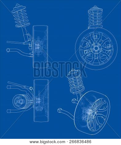 Car Suspension With Wheel Tire And Shock Absorber. Vector Rendering Of 3d. Wire-frame Style. The Lay