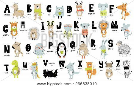 Vector Poster With Letters Of The Alphabet With Cartoon Animals For Kids. Hand Drawn Graphic Zoo Fon