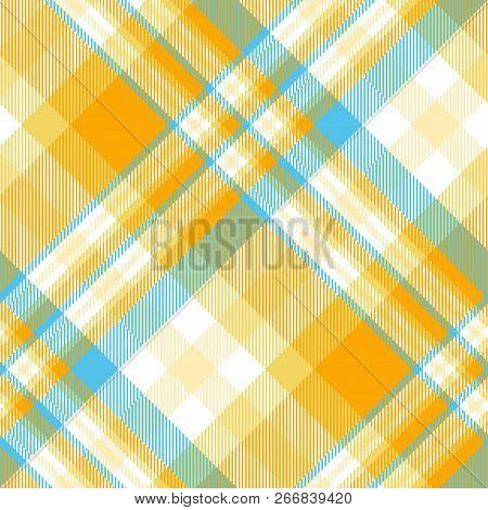Madras Plaid Pattern In Orange, Blue And White. Seamless Fabric Texture.