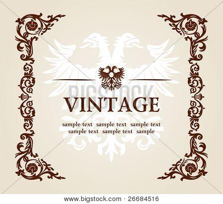 vector vintage heraldic imperial frame eagle decor