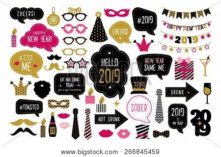 Happy New Year 2019 Photo Booth Props. New Year Party. Christmas And New Year Funny Quotes On Speech