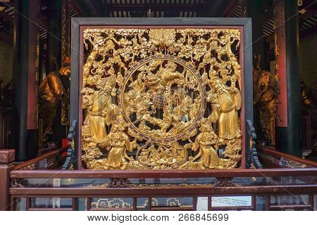 Foshan/china - 27 November 2015:chinese Golden Art Work About Chinese Heaven In Foshan Ancestral Tem