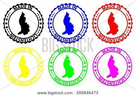 Made In Lichtenstein - Rubber Stamp - Vector, Lichtenstein Map Pattern - Black, Blue, Green, Yellow,