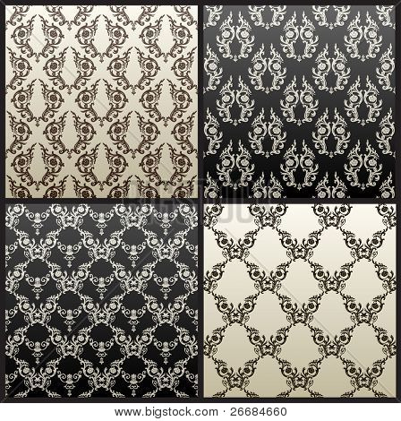 Raster seamless vintage background brown black wallpaper. Vector copy search in my portfolio