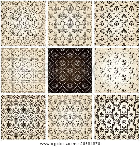 seamless vintage backgrounds set brown baroque Pattern. Vector set