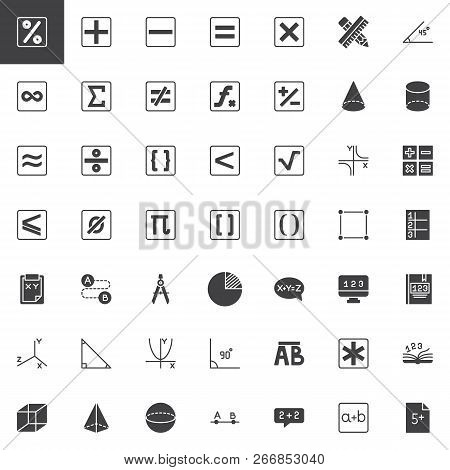 Mathematics Vector Icons Set, Modern Solid Symbol Collection, Filled Style Pictogram Pack. Signs, Lo