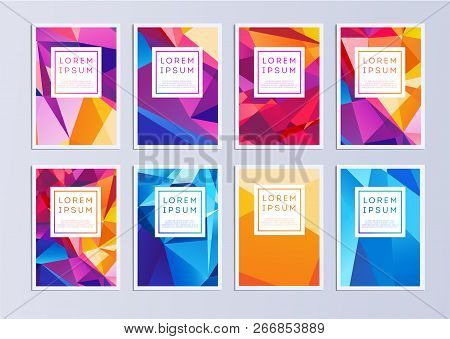 Vector Template Covers With Geometric Pattern. Set Of Vector Cover Templates. Modern Set Of Covers.