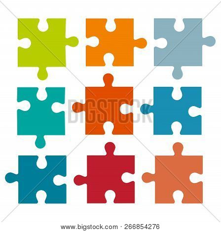 Set Of Different Colored Puzzle Pieces Isolated On White Background. Parts Of Multi-colored Puzzles.
