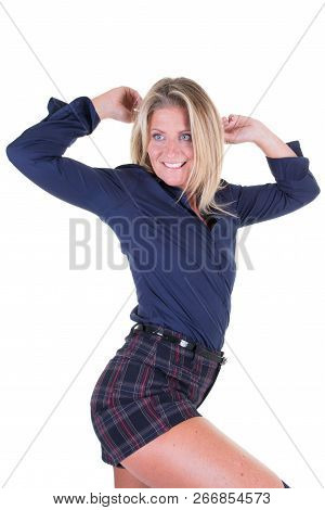 Cheerful Beauty Middle Aged Blonde Woman Posing Beauty And Fun