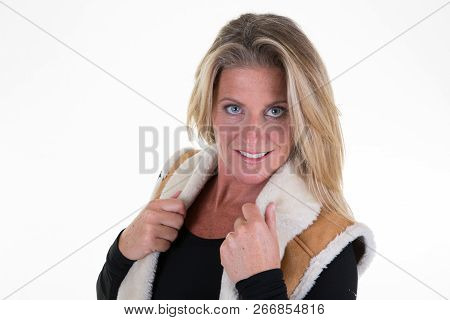 Winter Blonde Woman 40 Middle Aged On White Background
