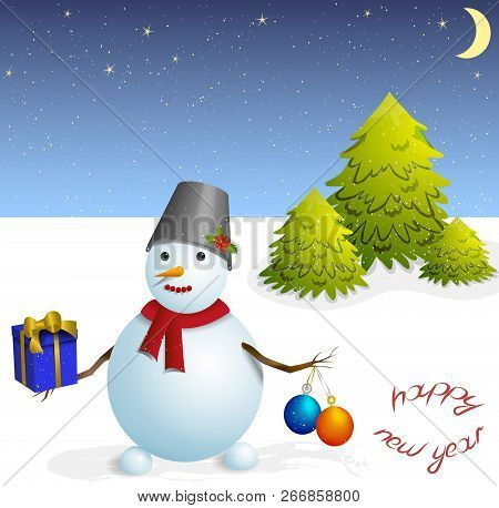 Snowman With Christmas Balls And A Gift
