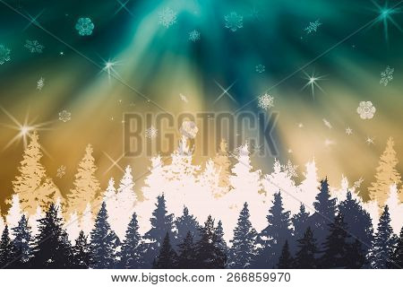 Winter Night Landscape-forest Panorama With Blue- Green-white Christmas Trees, Northern Lights, Auro