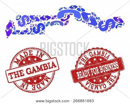 Business Contacts combination of blue mosaic map of the Gambia and rubber seal stamps. Vector red watermarks with scratched rubber texture have MADE IN and READY FOR BUSINESS texts. poster