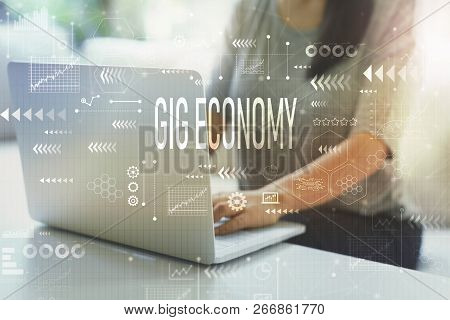 Gig Economy With Woman Using Her Laptop In Her Home Office