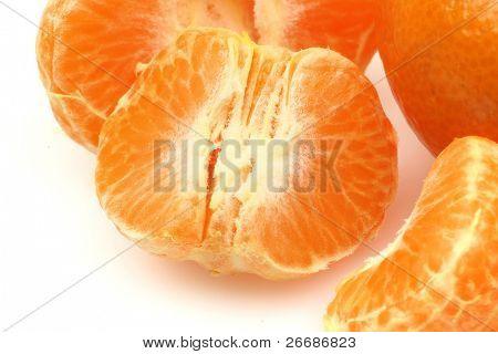 pieces of one peeled tangerine