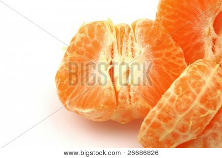 pieces of one peeled tangerine