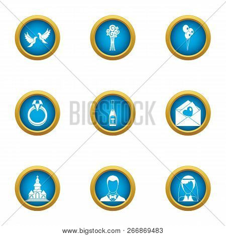 Married Couple Icons Set. Flat Set Of 9 Married Couple Icons For Web Isolated On White Background