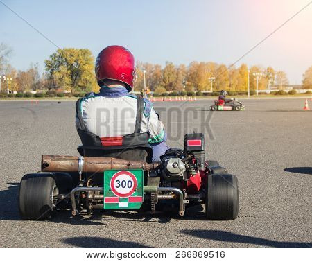 Karting Competitions, The Participant Is Sitting In The Map And Waiting For The Start Of The Competi