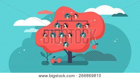 Family Tree Flat Vector Illustration. Example Of Relatives Connection Data. Human Genealogical Herit