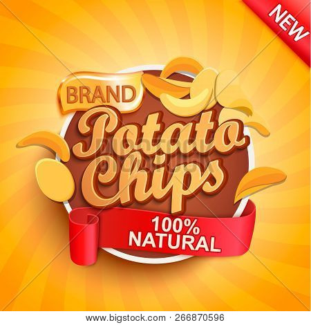 Potato Chips On Gold Sunburst Background.100 Percent Natural, Organic And Fresh Healthy Food. Perfec