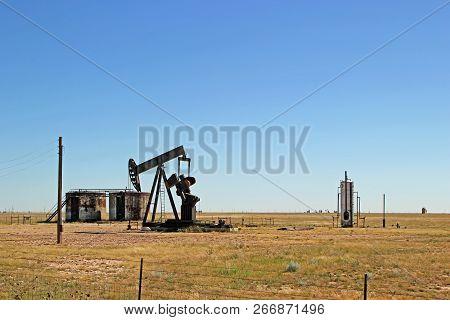 Oil Well Pumper In West Texas Field