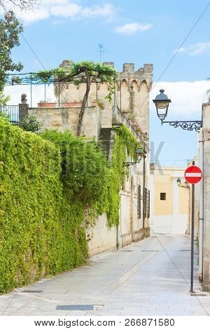 Presicce, Apulia, Italy - Ivy Growing On The Walls Of An Old Castle