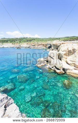 Torre Die Miggiano, Apulia, Italy - Turquoise Water At The Harbor Of Torre Miggiano